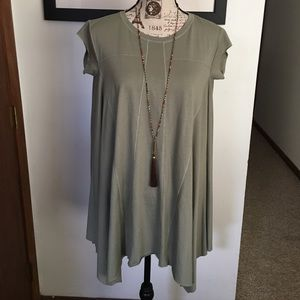 Urban Outfitters Shirt dress tiered Army Green BDG